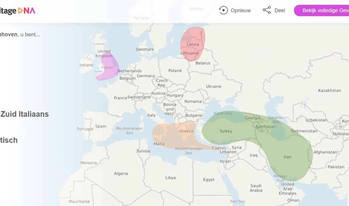 Uitslag DNA MyHeritage