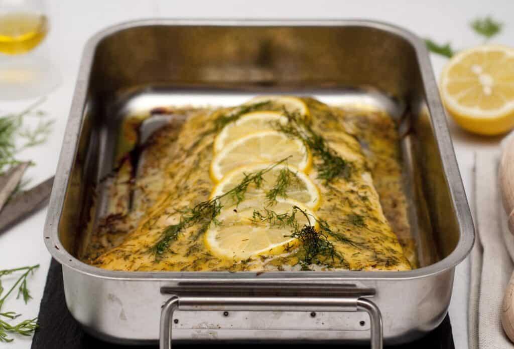 Zalm dille& mosterd uit de oven