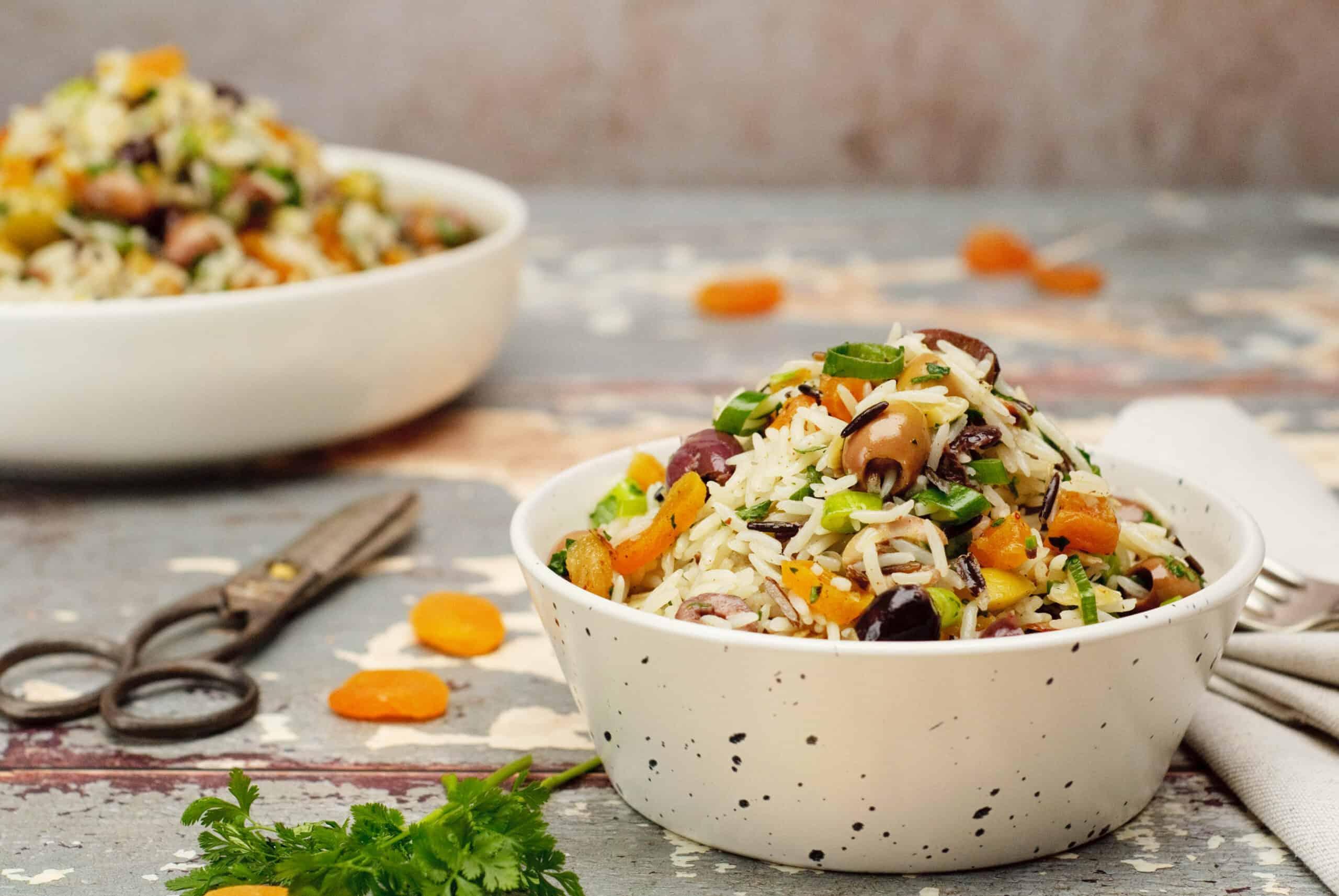 Salade rijst olijven & abrikozen