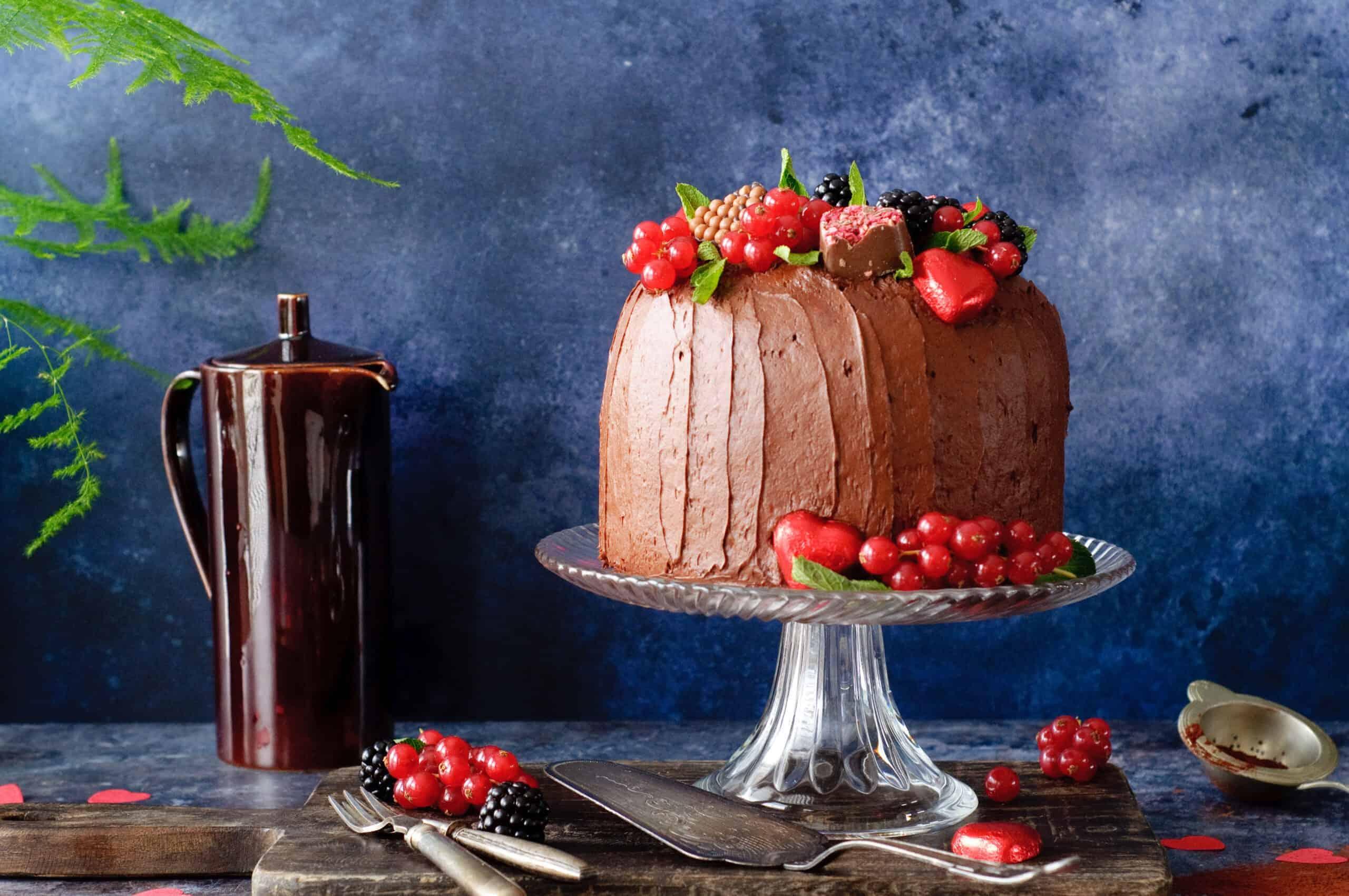 Valentijntaart chocolade & rood fruit