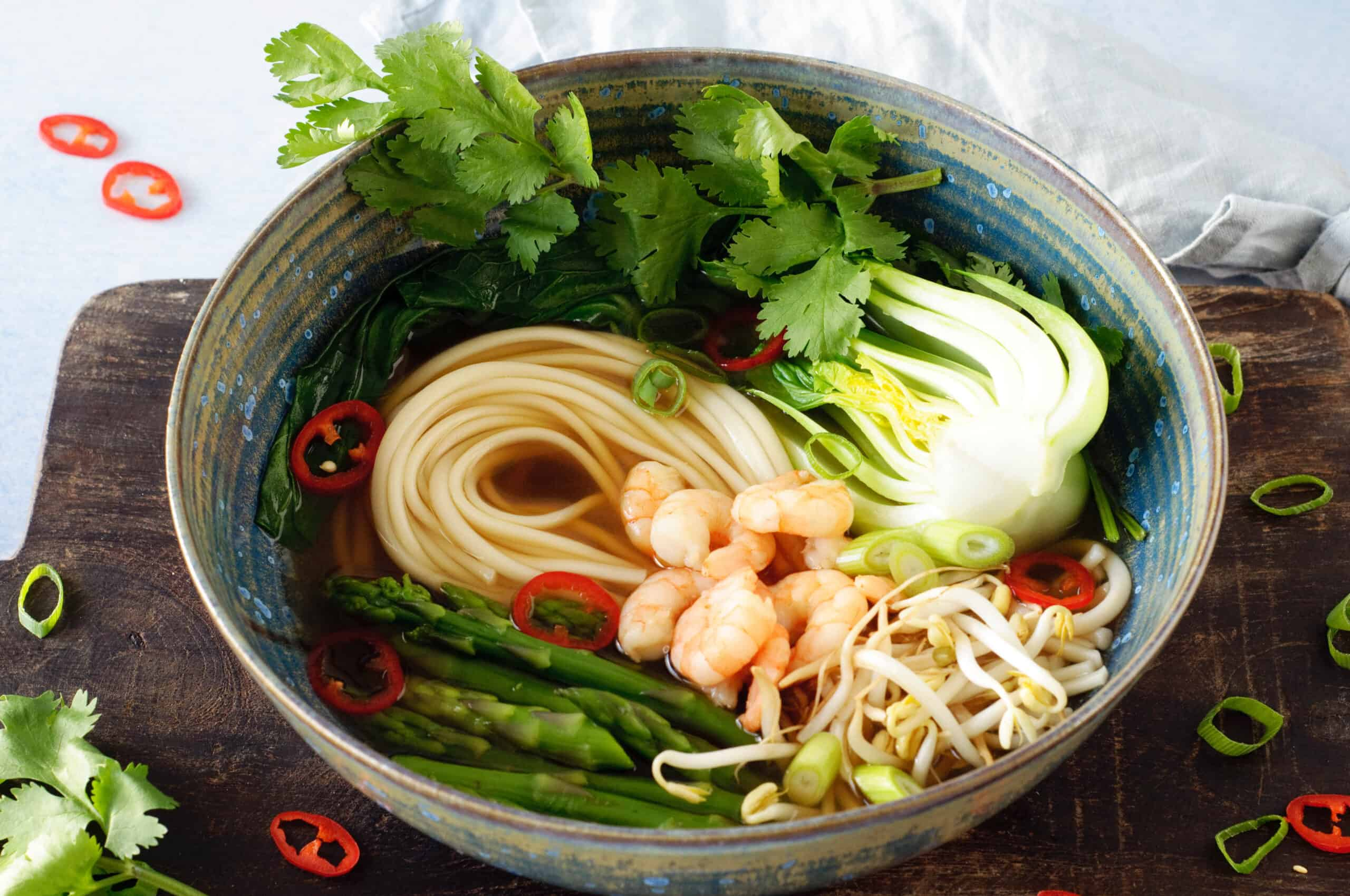 Noedelsoep garnalen & groene groenten
