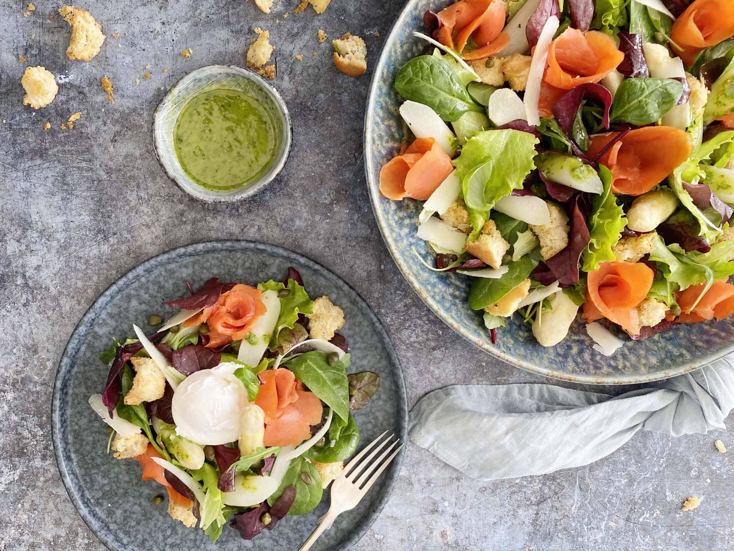 Salade asperges, zalm & ei